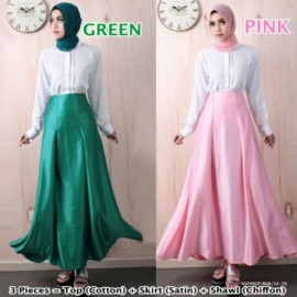 image of NJ 3 IN 1 Front Button Blouse+Flared Satin Long Skirt +Shawl