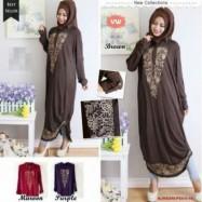 image of READY STOCK NJ SeoulFashion Embroidery Collared Hijaber Long Blouse