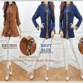 image of NJ Trendy Leopard Printed Pleated Design Women Blouse
