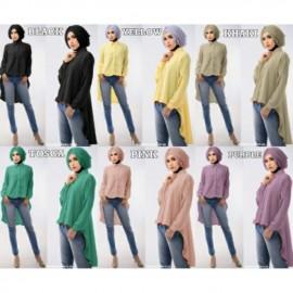 image of NJ SeoulFashion Asymmetric Design FrontButton Collared Women Blouse