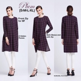 image of NJ ModernMuslimah Checkers Tunic Blouse