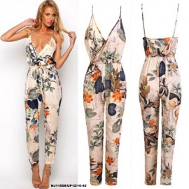 image of NJ EuropeFashion V Neck Halter Floral Jumpsuit