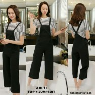 image of NJ Fashion Stylish Top and Jumpsuit Black (1 Set)