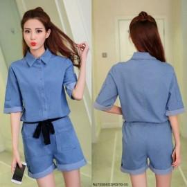 image of NJ DenimFashion Trendy Jumpsuit with Waist String - Light Blue
