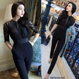 image of NJ Fashion HighQuality Lace Joint Elegant Jumpsuit (Transparent Lace Part)