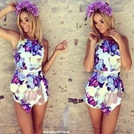 image of NJ EuropeFashion Floral Design High Waist Short Jumpsuit