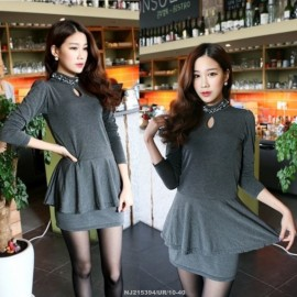 image of NJ EuropeFashion Peplum Dress Grey