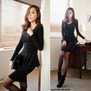 image of NJ EuropeFashion Charming Peplum Dress Black
