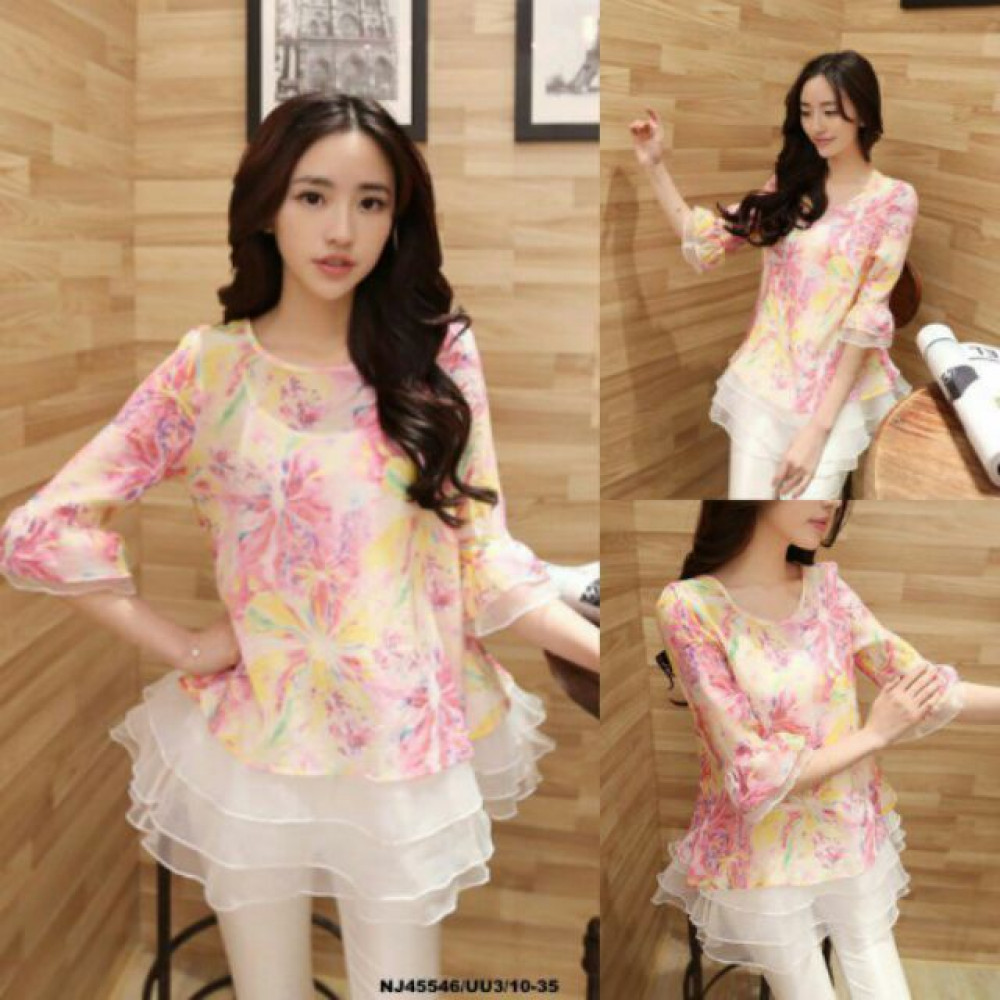 NJ Fashion Stylish Flower Printed Loose Blouse with Inner