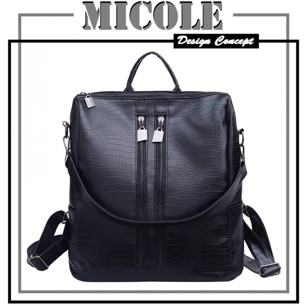 READY STOCK>>MICOLE Crocodile Design Casual Backpack Travel Bag Pack BP1002