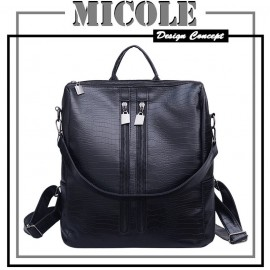 image of READY STOCK>>MICOLE Crocodile Design Casual Backpack Travel Bag Pack BP1002