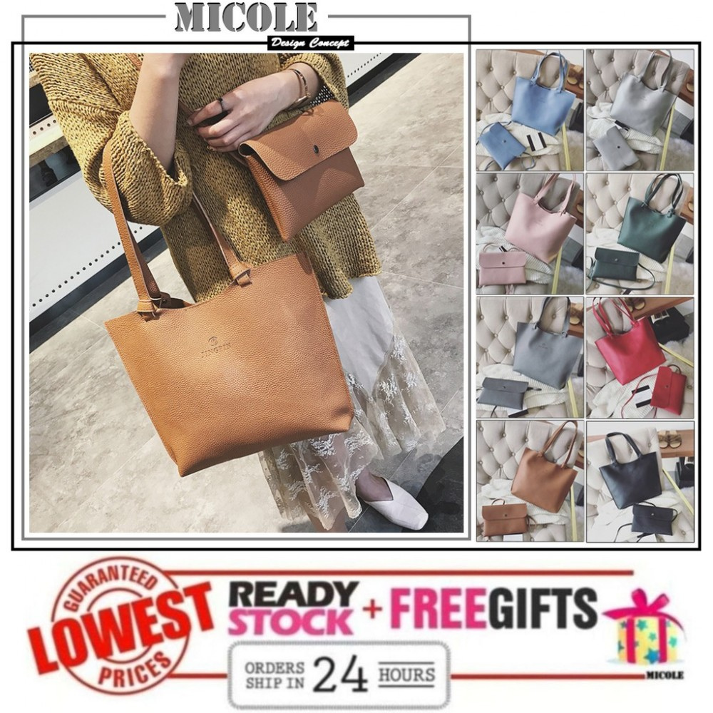 Ready Stock>> MICOLE 2 IN 1 Shoulder Bag + Casual Sling Bag Handbag BS3026