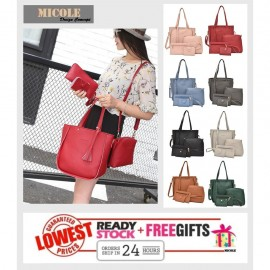 image of READY STOCK>> MICOLE 4 in 1 Bag Set / Shoulder Tote Beg + Sling+Pouch BS3004