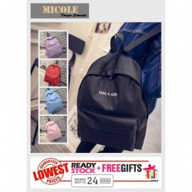 image of ReadyStock>> MICOLE Casual Backpack School Bag Pack Beg (I AM A GIRL) BP1013
