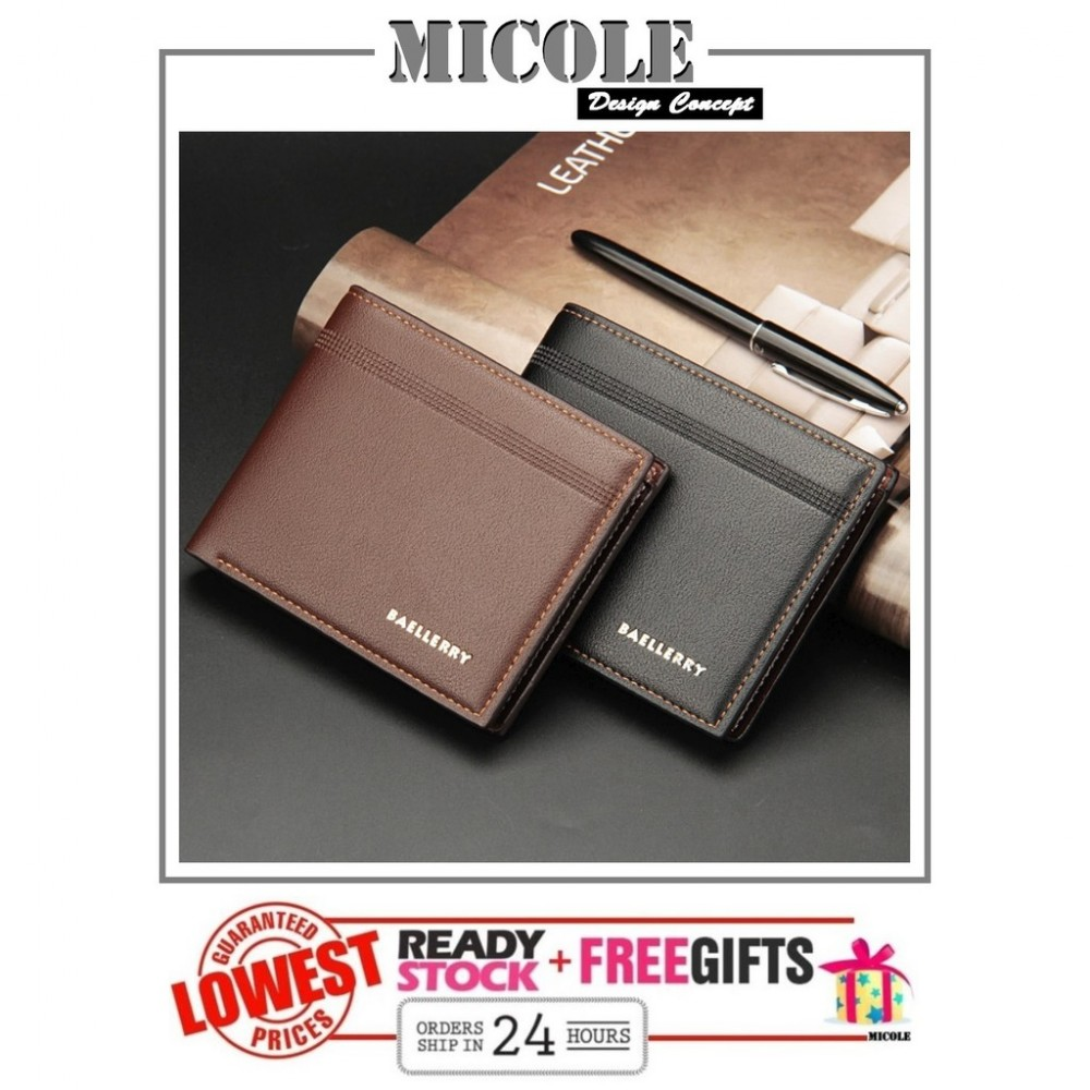 ReadyStock>> MICOLE Premium Short PU Leather Men Purse Wallet Men Bag WM1004