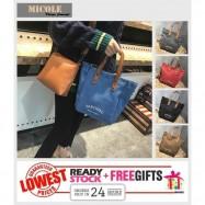 image of Ready Stock>> MICOLE 2IN1 Canvas Shoulder Bag Handbag Women Sling Bag BS3017