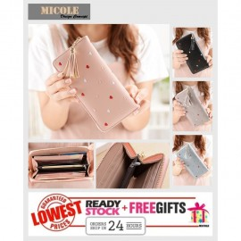 image of Ready Stock >> MICOLE Long Wallet Women PU Leather Zip Pouch Purse WF4003