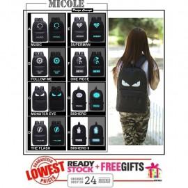 image of Ready Stock >> MICOLE Glow In Dark Shoulder Backpack Bag School Bag BP1037