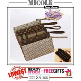 image of Ready Stock>> MICOLE Long Wallet Women PU Leather Zip Pouch Purse WF4010