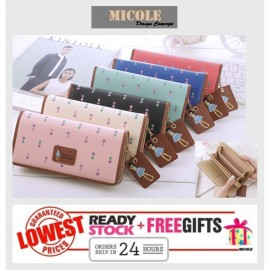 image of Ready Stock >> MICOLE Long Wallet Women PU Leather Zip Pouch Purse WF4007