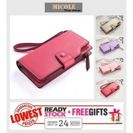 image of ReadyStock>> MICOLE Long Wallet Women PU Leather Zip Pouch Lady Purse WF4006