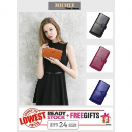 image of Ready Stock >> MICOLE Long Wallet Women PU Leather Zip Pouch Purse WF4004