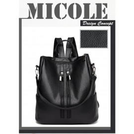 image of Ready Stock >> MICOLE Double Zip Casual Backpack Travel Bag Pack Beg BP1036