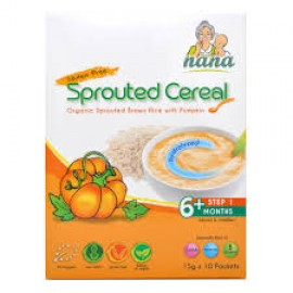 image of NANA Sprouted Cereal, Organic Sprouted Brown Rice with Pumpkin, 15g x 10 packets (EXP DEC18)