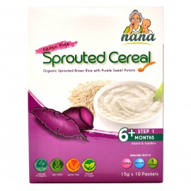 image of NANA Sprouted Cereal Organic Sprouted Brown Rice Purple Sweet Potato, 15g x 10 packets(EXP DEC18)