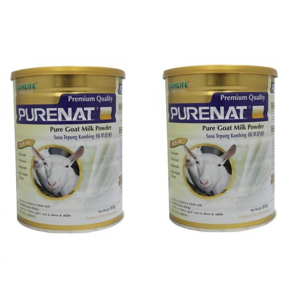 BONLIFE Purenat PREMIUM Pure Goat Milk Powder 800g x 2tins