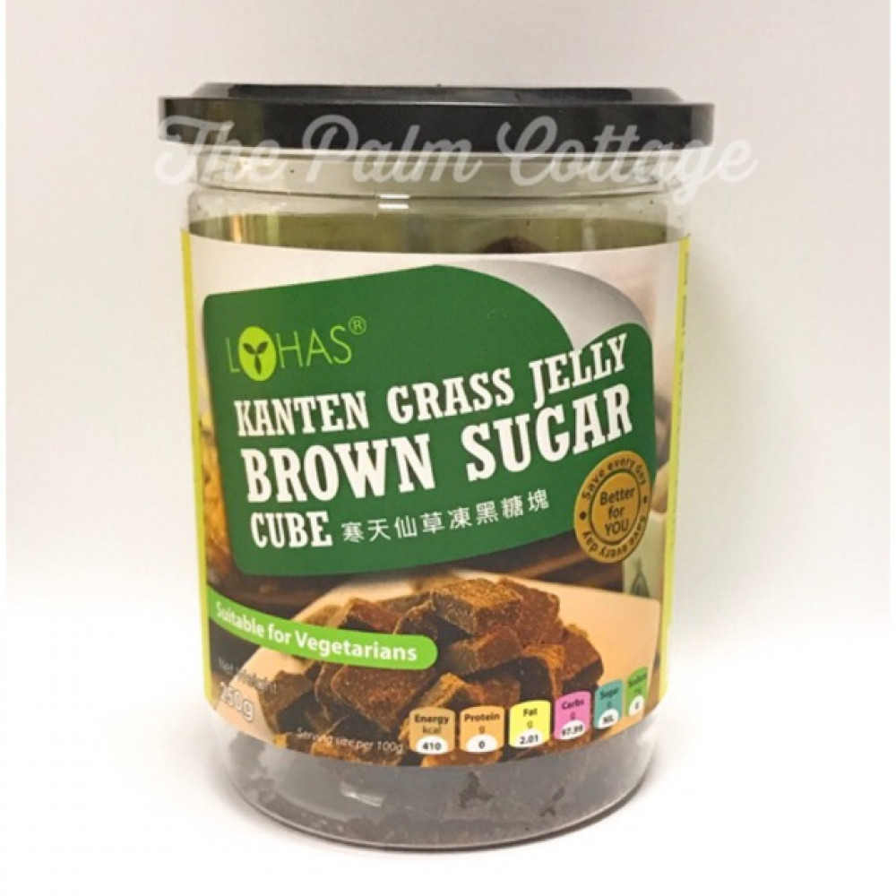 Lohas Kanten Grass Jelly Brown Sugar Cube 寒天仙草冻黑糖块 300gm