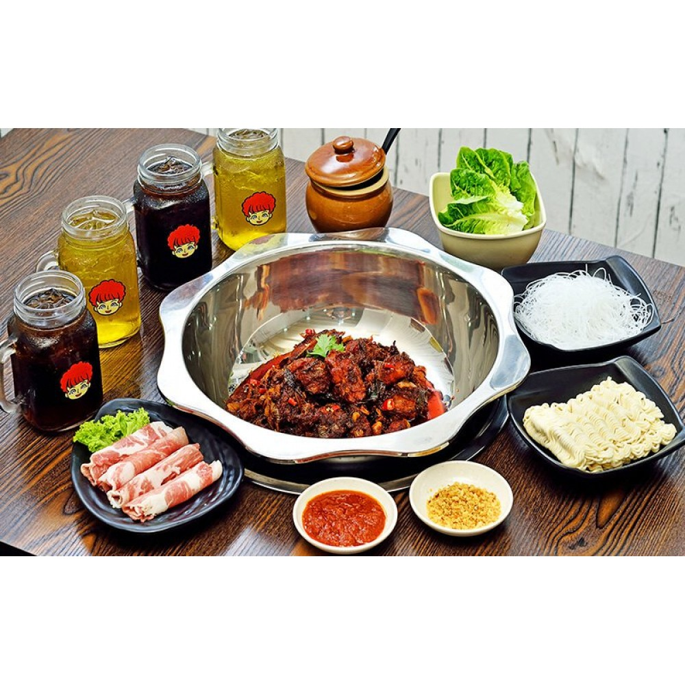 (Mon - Fri) Spicy Chicken Hot Pot with Pork Belly, Vegetables, and Drinks for 3-4 People