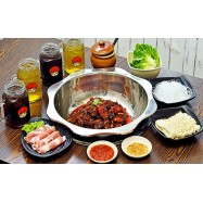 image of (Mon - Fri) Spicy Chicken Hot Pot with Pork Belly, Vegetables, and Drinks for 3-4 People