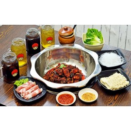 image of (Sat - Sun & PH) Spicy Chicken Hot Pot with Pork Belly, Vegetables, and Drinks for 3-4 People