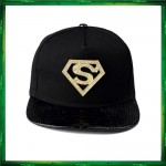 Superman Diamond Black Gold Cap Hat Snapback