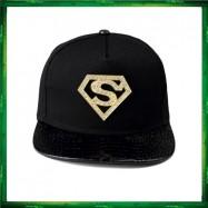 image of Superman Diamond Black Gold Cap Hat Snapback