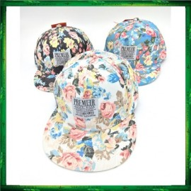 image of PREMIER Floral Leather Strapback Snapback Cap