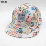 PREMIER Floral Leather Strapback Snapback Cap