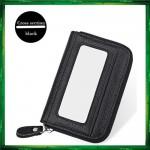 4GL Men Women Genuine Leather Zipper Card Holder Wallet KB08