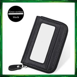 image of 4GL Men Women Genuine Leather Zipper Card Holder Wallet KB08