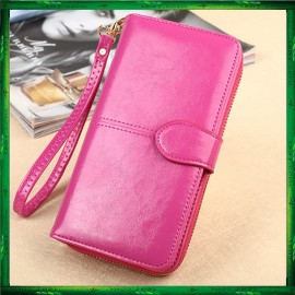 image of Fashion Lady Oil Wax Leather Purse Wallet Wallets H980 Bag Beg Women