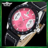 image of WM14 WINNER Mechanical Automatic Self Wind Watch Auto Date Black Leather Straps