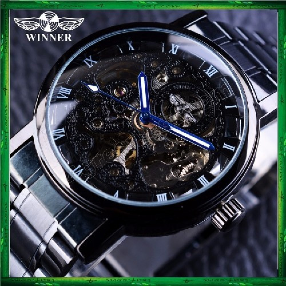WM10 Winner Skeleton Stainless Steel Blue Hands Luminous Men Automatic Watch