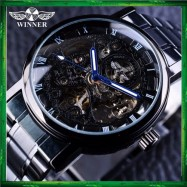 image of WM10 Winner Skeleton Stainless Steel Blue Hands Luminous Men Automatic Watch