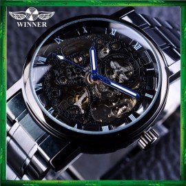 image of WM10 Winner Skeleton Stainless Steel Blue Hands Luminous Men Automatic Watch