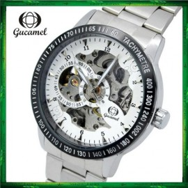 image of GUC01 Gucamel Men Auto Mechanical Hollow Dial Luminous Steel Leather Band Watch