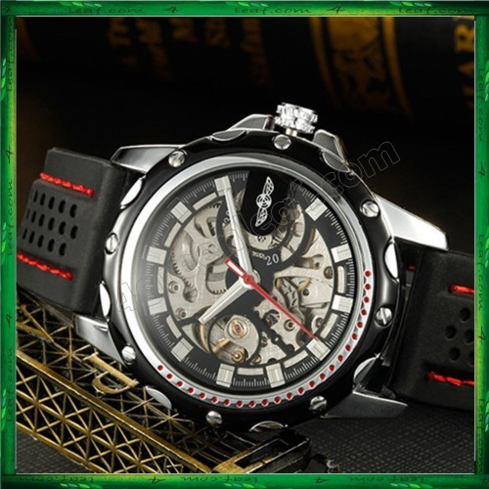 WM08 Winner Automatic Mechanical Skeleton Men Watches Sport Silicone Band