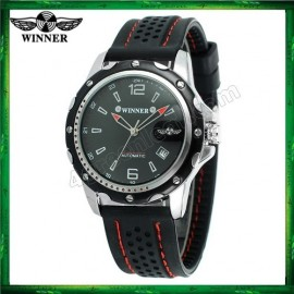 image of WM12 Winner Auto Date Automatic Men Silicone Strap Mechanical Wristwatches