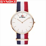 Synoke 3601 Simple Ultra-thin Quartz Watch Classic Nylon Strap Jam Tangan