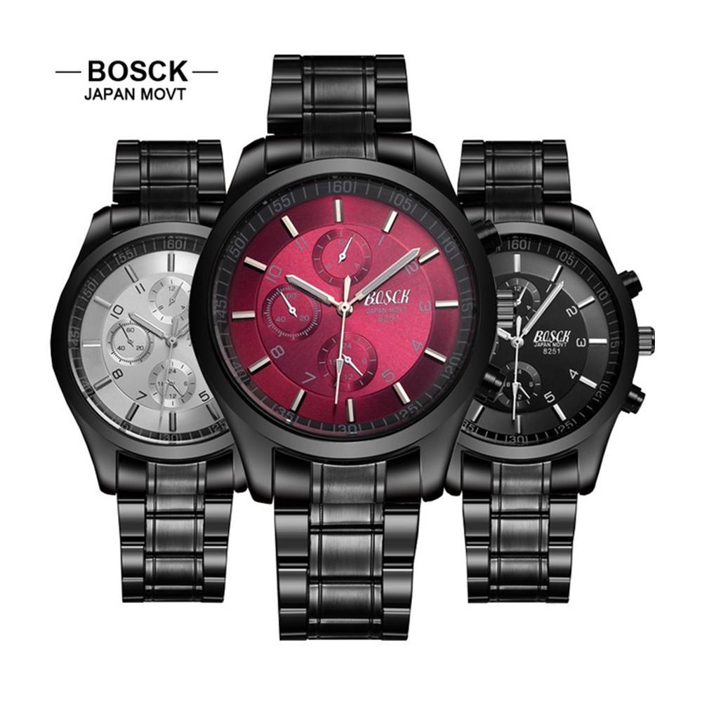 4GL BOSCK Men's Business Casual Sports Steel Jam Tangan Watch 8251